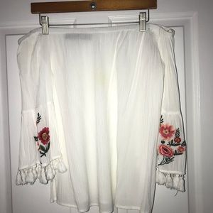 Francesca's White Embroidered Off the Shoulder Top